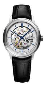 Raymond Weil Maestro Automatic Skeleton Dial Leather Mens Watch 2215-STC-65001