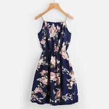 Womens Summer Flower Printed Mini Beach Strappy Casual Navy Blue Dress UK 6-20