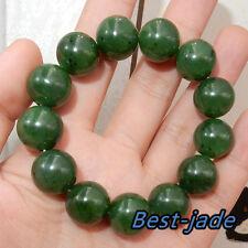 BIG Top Grade Green Gemstone Nephrite Beads Bangle Bracelet Canada Jade 16mm