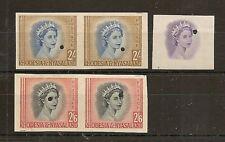 RHODESIA & NYASALAND 1954-56 IMPERF PLATE PROOF PAIRS 2/- & 2/6 SG11/12, VIGNETT