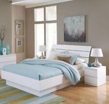 4 Piece White Full Size Platform Bed Bedroom Furniture Collection Set Home