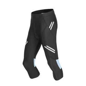 WOSAWE Mens Cycling Shorts Bicycle Padded MTB Bike 3/4 Pants Riding Tights Black