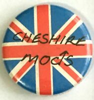 CHESHIRE MODS - Union Jack - Old OG Vintage 1980`s Button Pin Badge 25mm