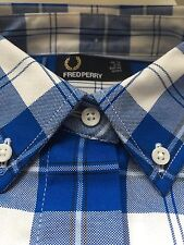FRED PERRY ladies Multi Tartan Deep Blue & White Short Sleeve Boxy shirt size 14