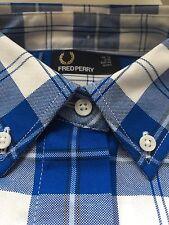 FRED PERRY Tartan Deep Blue White Short Sleeve Boxy shirt size 10