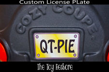 Replacement Decal fits Little Tikes Cozy Coupe Yellow Black License Number Plate
