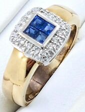 9k Sapphire and Diamond RING_375 two tone gold yellow/white
