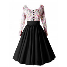 Women 1950s 60s Vintage Floral Style Retro Rockabilly Cocktail Party Swing Dress