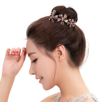 Women's Crystal Rhinestone Hair Clips Claw Clamp Bun Net Hairpin Ponytail Holder