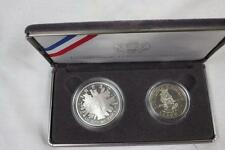 1989 US Mint Congressional Coins Two Coin Proof Silver Dollar+Half w/Box, COA