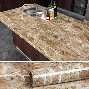 VEELIKE Brown Marble Contact Paper Peel and Stick Countertop Granite Wallpaper