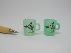 U067 Dollhouse 2pcs Vintage Donald Duck cups Kitchen Miniature re-ment 1:12