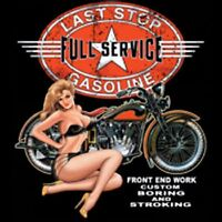LAST STOP FULL SERVICE GAS STATION MOTORCYCLE BIKER VINTAGE LOOK T SHIRT