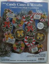 CANDY CANES AND ORNAMENTS CHRISTMAS  Cross Stitch plastic canvas set of 12