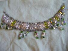 Handmade Antique Vintage Beadwork Green Silver Applique Piece - Flapper 1920's