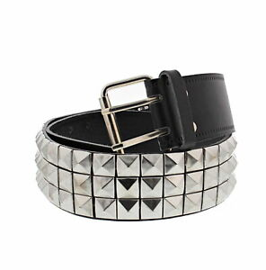 Three Row Pyramid Studded Black Leather Belt - 3 Sizes Available