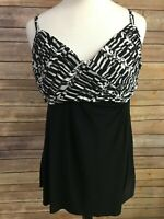 Miraclesuit Black And White Tankini Swimsuit Top Size 14 Underwire Criss Cross