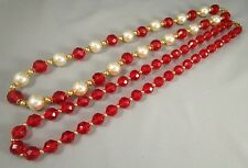 Vintage LOT of 2 Red Lucite Beads Faux Pearls Necklaces   #71