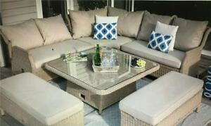 Bramblecrest Garden Furniture Adjustable Square Table + Seating + Cushions
