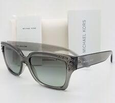 2373ef57d04 Michael Kors Mk2066 334511 Grey Crystal Rectangle Sunglasses