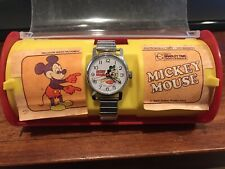 Vintage Bradley/Elgin Mickey Mouse Baseball Swiss Watch Original Box
