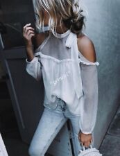 ZARA BLOUSE TOP WITH OPEN SHOULDERS BOW TUNIC BLUSE VOLANTS SCHLEIFE SIZE M 40