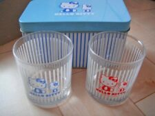 Hello Kitty Glass Set in Can Case SANRIO New Kawaii Japan Rare year 2003