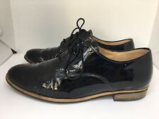 Gabor Black Shiny Patent Leather Lace Up Flat Brogues Shoes Androgynous 4 37