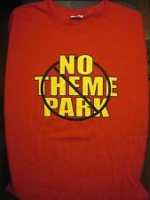 L red NO THEME PARK t-shirt - unique funny