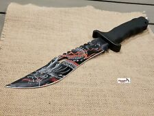 """13"""" Black CSGO Fixed Blade Hunting Knife Bowie Dragon Japanese Combat Survival"""