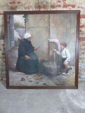 """Peinture / huile sur toile  sur panneau bois """"la vieille femme et l'enfant"""""""