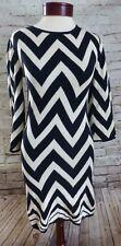 Love 21 Black & White Chevron Dress Bell Sleeved Women's Size XSMALL