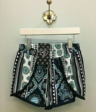 NWT FLOWERS BY ZOE Sizes: M-L-XL  Girls Blue & Green Paisley Cut Away Shorts