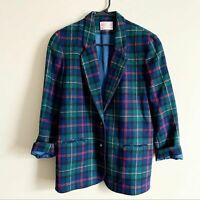 Pendelton Vintage Blue Green Tartan Plaid Boyfriend Button Wool Blazer Womens 8P
