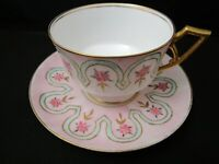 Antique Limoges Hand-Painted & Signed Tea Cup and Saucer Pink Fabulous 1892