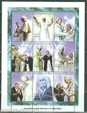 MALI  POPE  JOHN  PAUL II & MOTHER TERESA  SHEET OF NINE  PERFORATED  MINT NH