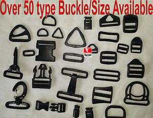 Black Plastic Side Release Buckles For Webbing bags straps 3 BAR SLIDES Clip