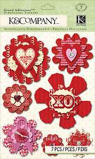 Valentines Day Medallions 7 pcs 3D Scrapbook Stickers K&Company New