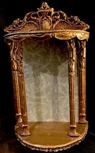 VTG Shelf Hollywood Regency Wall R Counter Shelf Gold Gilt Ornate UNUSUAL!