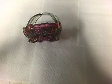 Glass Basket Cranberry Dogwood Pattern Westmoreland Split Handle 4 3/4""