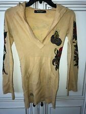 WOMEN'S ED HARDY VINTAGE SWEATER PULLOVER W/ LOGO, GOLDEN YELLOW SIZE XS CUTE ON