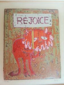 Original Al Robi Linocut Print Rejoice  Rare Find Signed and Numbered
