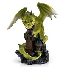 "Green Dragon On Castle Figurine Statue 6""H Resin New In Box!"