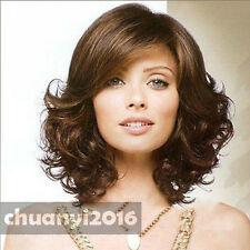 2017 sexy  Women's ladies Charm Brown Mixed Medium Curly Hair wigs+ a wig cap