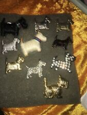 RETRO SCOTTIE,SCOTTY,SCOTTISH TERRIER DOG DOGS 10 PIN PINS BROOCH BROOCHES lot