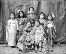 Photo.  ca 1899. Japanese Mission School Students - girls in kimonos
