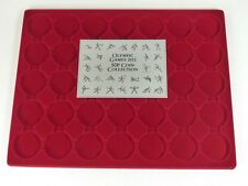 Lindner Dark red coin tray insert for 29 Olympic 50p coins in capsules  - new