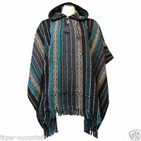 Hippy Boho Thick Unisex Hooded Poncho from Nepal in Blue Stripes