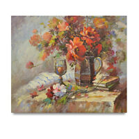 NY Art - Impressionist Flowers & Wine Still Life 20x24 Oil Painting - On Sale!