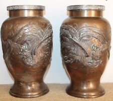 Antique paire de vases en bronze Japon Meiji japanese birds asian